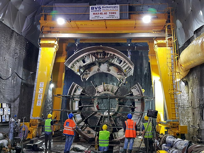 OFTA assembly of the TBM more than 7km into the tunnel drive that defeated a different supplier's double shield TBM
