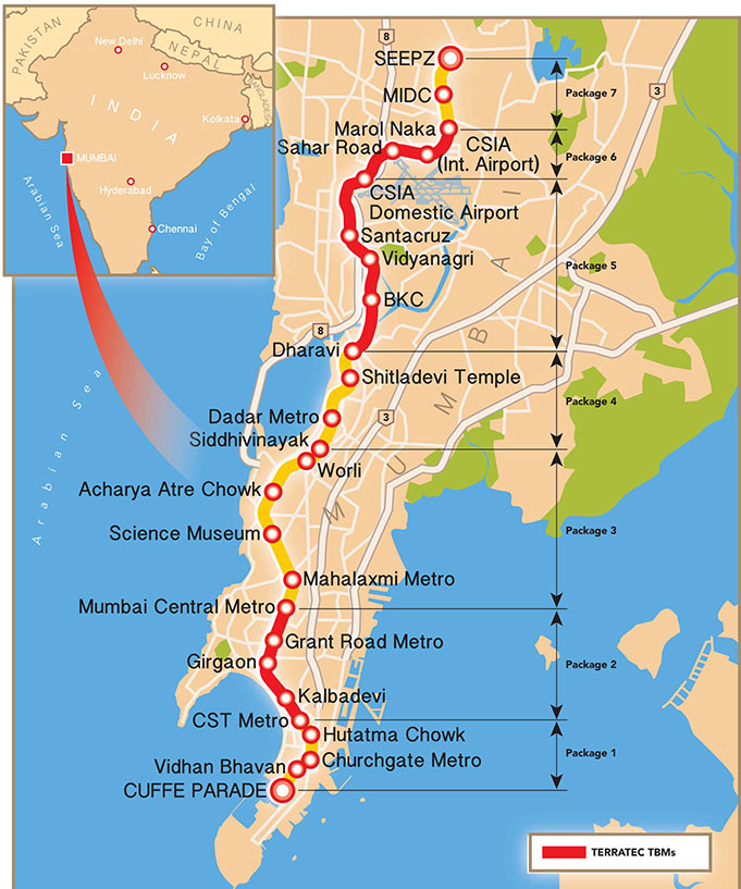 Fig 1. Contract packages on the 33.5km long Mumbai Metro Line 3