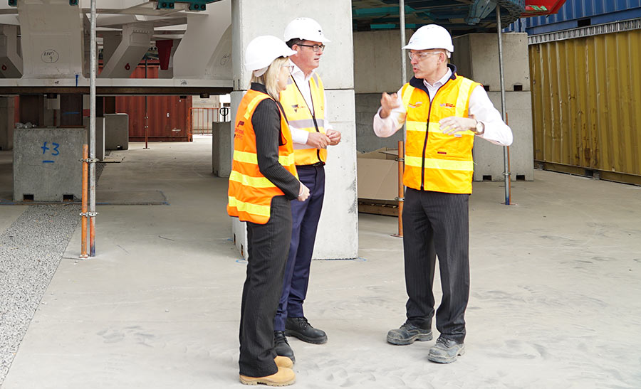 Minister for Transport Infrastructure Jacinta Allan, Victoria Premier Daniel Andrews, and West Gate Tunnel Project CEO Peter Sammut visit the assembly site