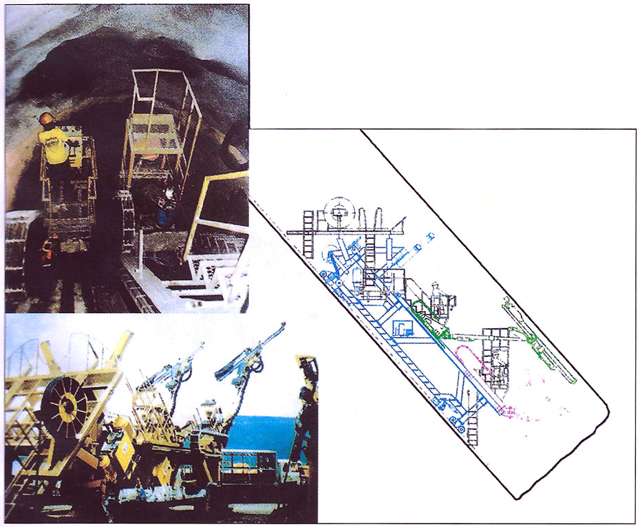 Fig 2. Specially designed jumbos for excavating the 33m2 full-face x 48˚ incline penstocks