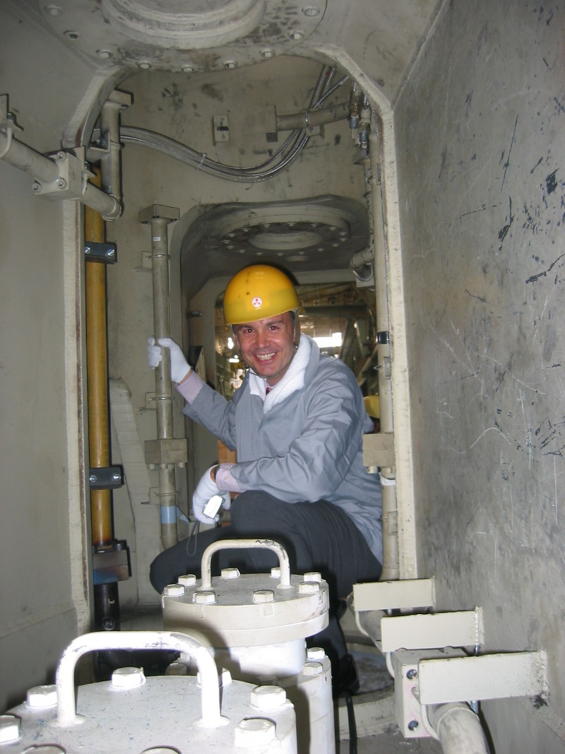 Inspecting a TBM at a factory in Japan