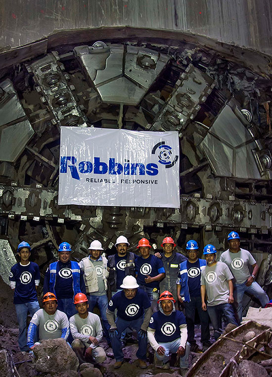 Robbins crew celebrates breakthrough after boring through difficult geology