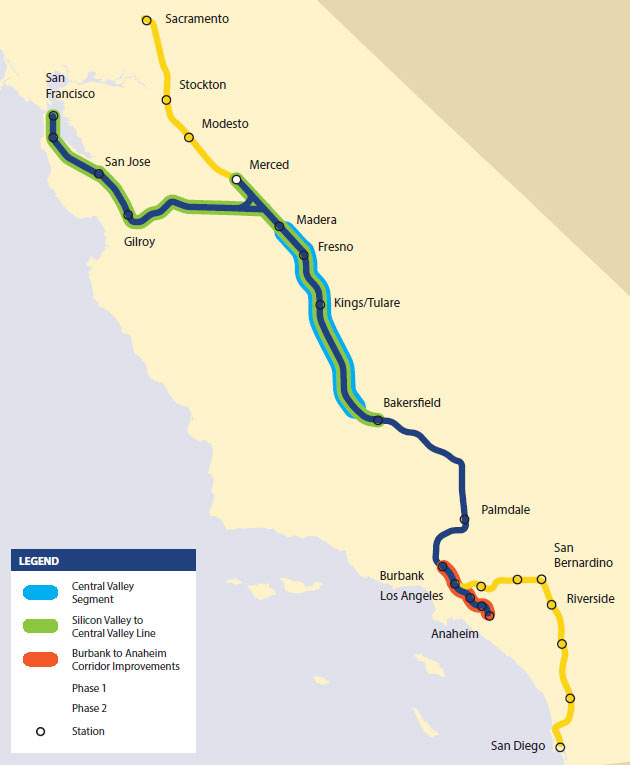 Statewide map of the phased high-speed rail implementation