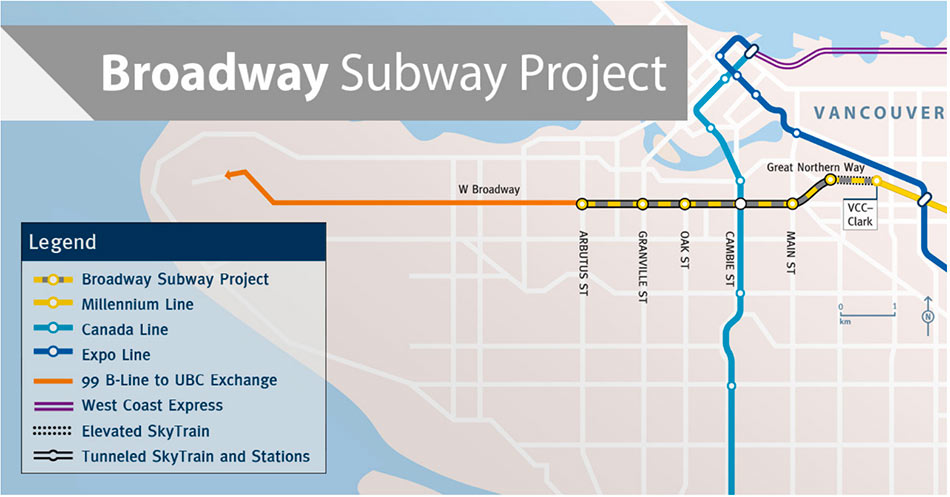 Fig 2. Proposed extension of the Broadway Subway Milllenium Line west to the University of British Columbia