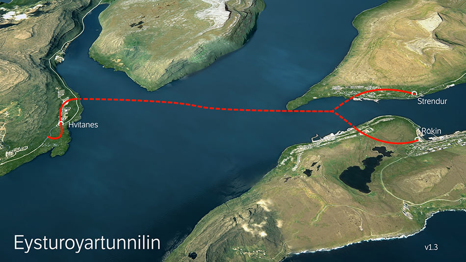 Fig 1. Route of Eysturoy subsea link