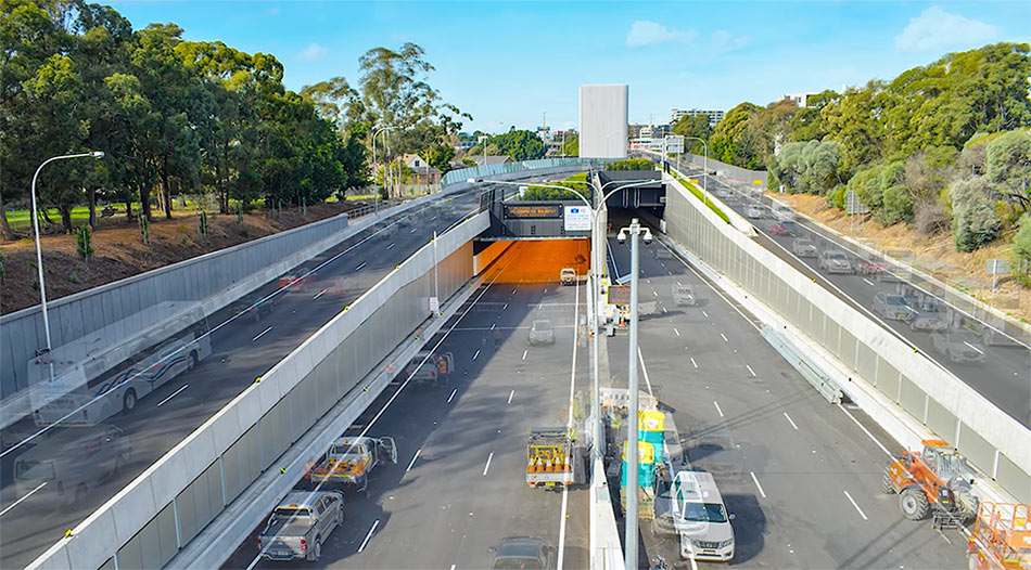 The M4 entry at Homebush