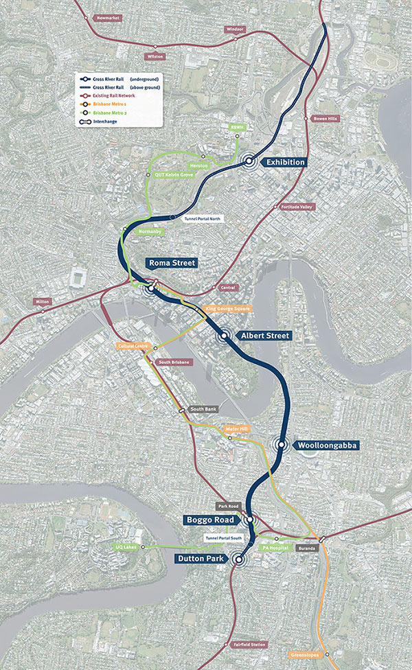 The Cross River Rail route, which will integrate with Brisbane Metro services