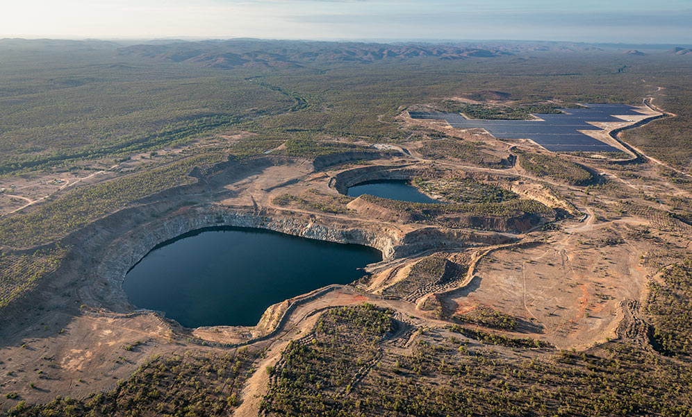 Aerial view of quarries at Kidston energy hub