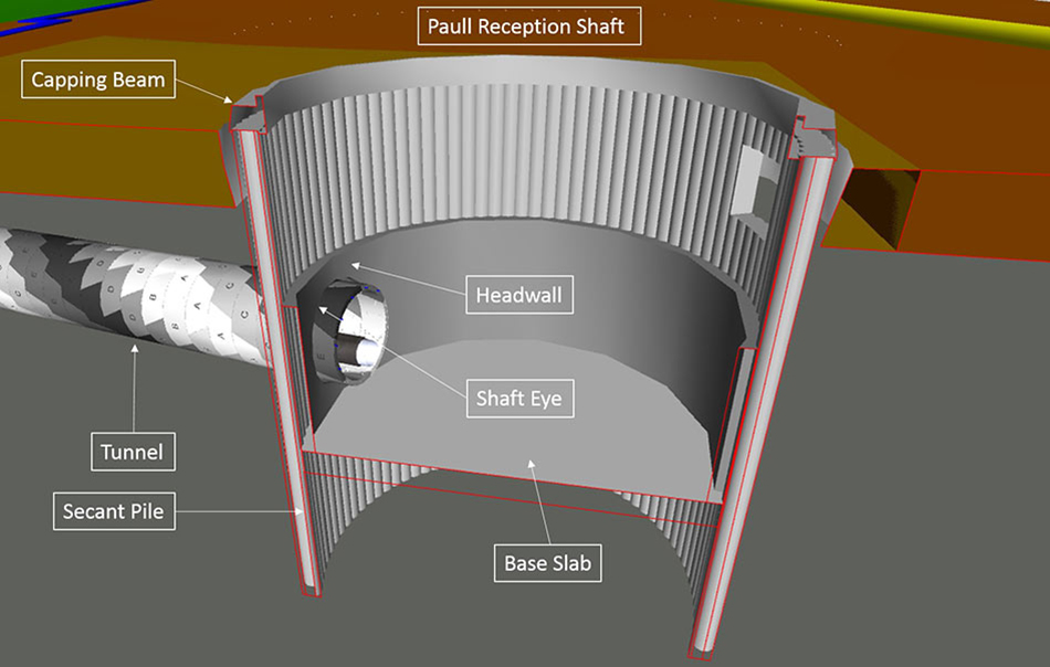 Cross section of the 13.5m deep x 15m diameter shaft at Paull