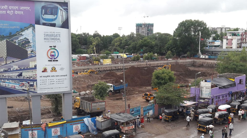 Works on Swargate multimodal station