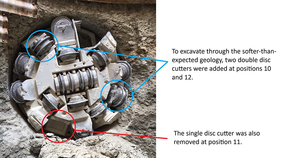 Fig 1. Disc cutter changes helped manage terrain