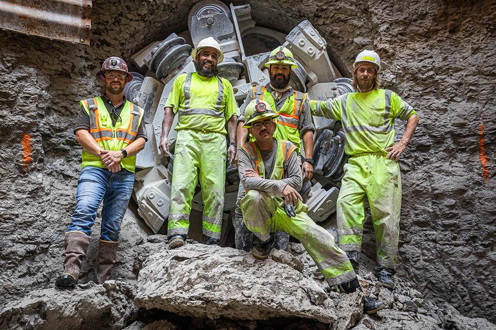 Construction crew celebrates breakthrough