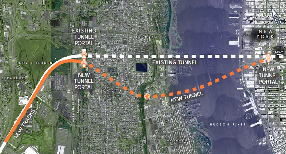 Fig 1. Route of the existing and new Hudson River rail underpasses