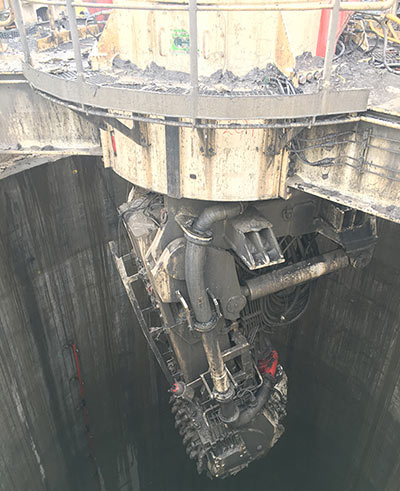 The VSM excavated the first 115m of the 360m MTS shaft