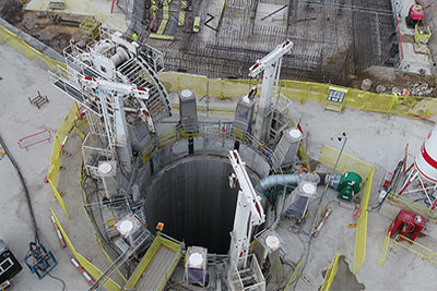 Aerial view of the MTS shaft at Woodsmith Mine