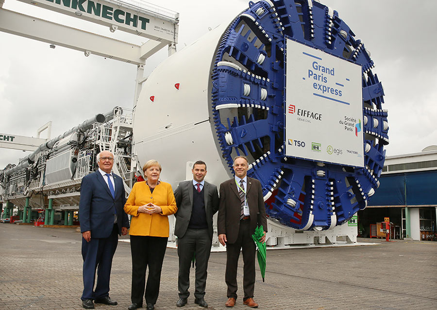 The Chancellor in front of one of the 19 TBMs for the Grand Paris Express