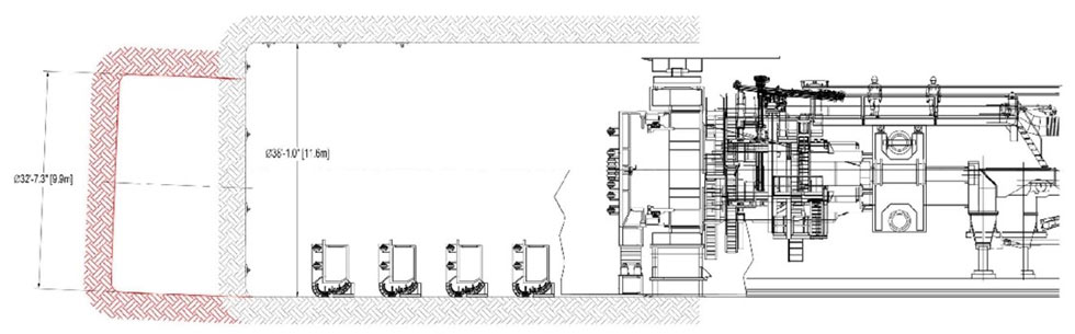 Fig 3. TBM disassembly and relaunch chamber