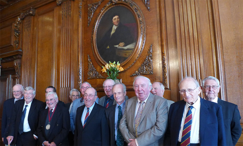 Medal recipients at the 2019 luncheon (and the year of award) from left to right: Alastair Biggart OBE (1991), Maurice Gooderham (2005), Alan Dyke (2006), Rodney Craig (2004), Alan Runacres (2016), Dave Court (2012), Gordon Ince (1988), Roger Remington (1993), Andy Sindall (2013), Hugh Doherty (1996), Gerard, Ged, Pakes (1997), Oliver Bevan (1992) and Terry Mellors (2011)