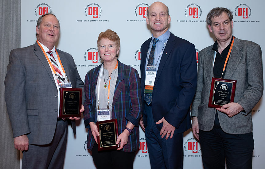 (From left) David Paul, Karen Dawson, DFI president Matthew Janes, and Gerald Verbeek