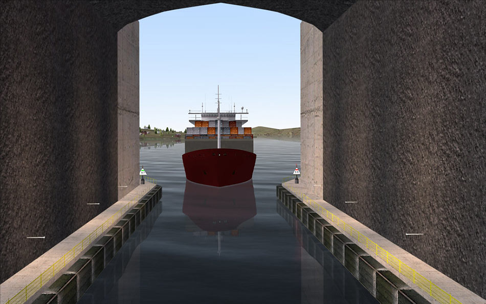 Artist impression of ship at tunnel portal