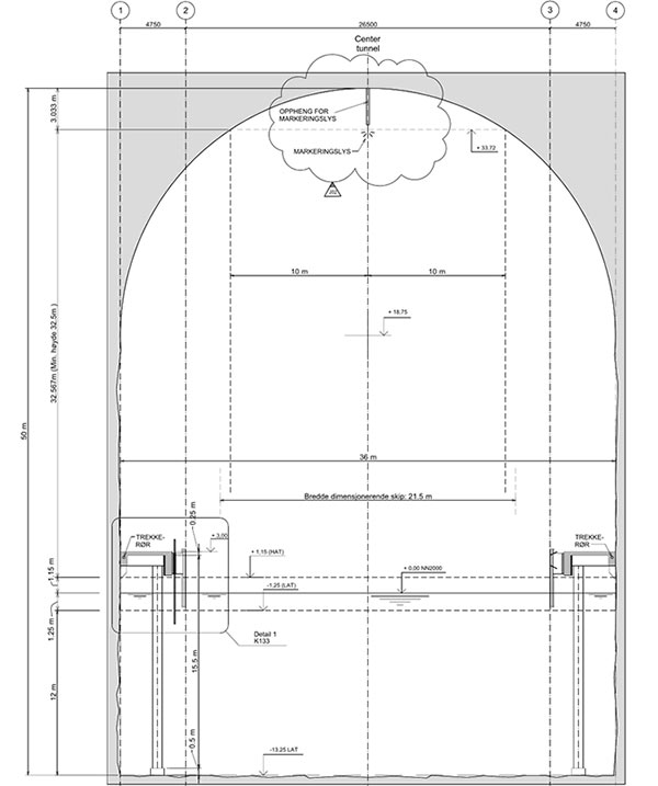 Fig 1. Outline of the 36m wide x 50m high cross-section
