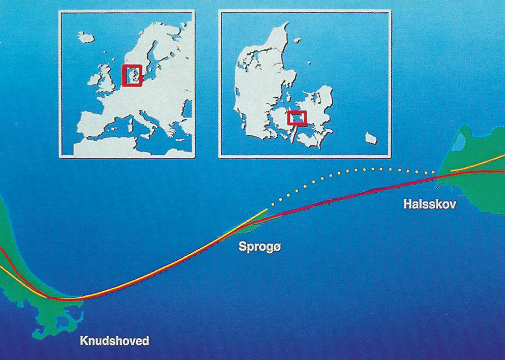Route of sea crossing of the Storebaelt in Denmark