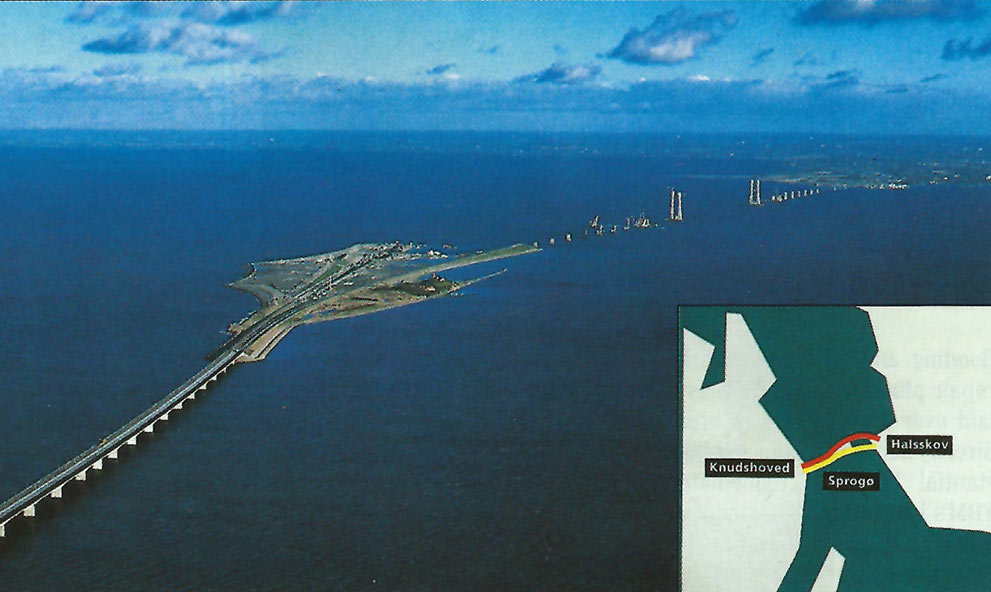 View of Sprogø and the East Bridge under construction  (Inset) rail bridge and tunnel in red, motorway bridges in blue