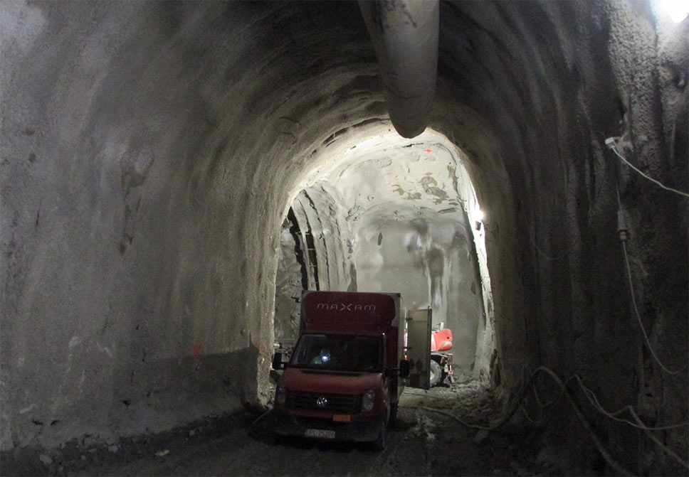 Excavation through tunnel four
