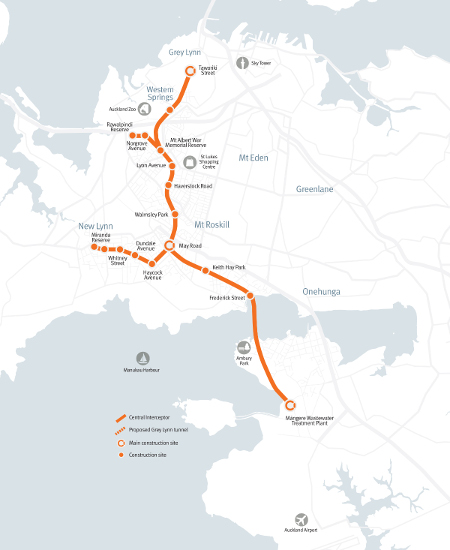 Fig 1. Central interceptor route including Grey Lynn extension