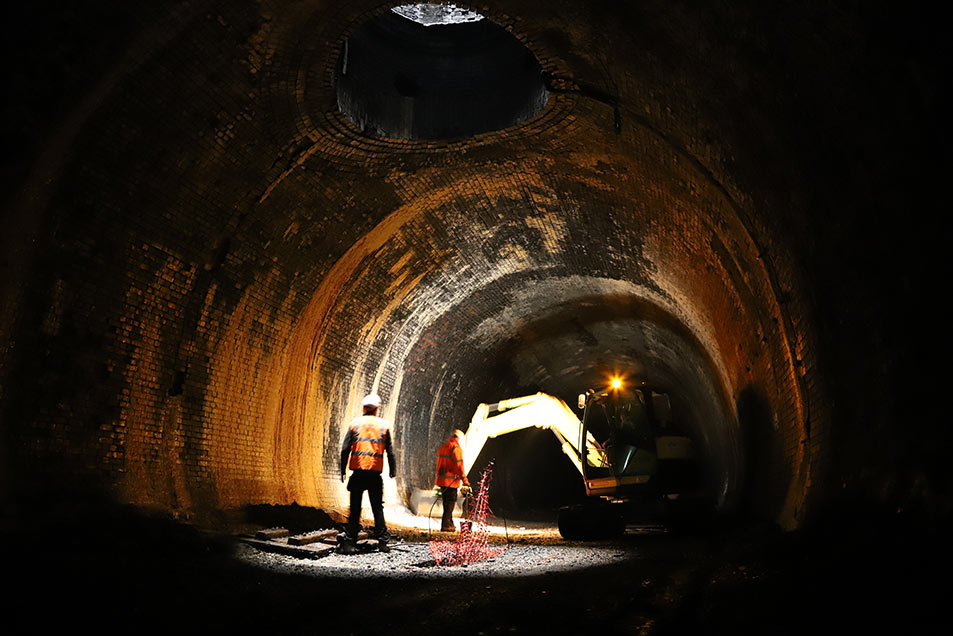 Excavation works inside the tunnel
