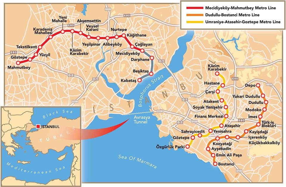 Istanbul Metro expansion routes