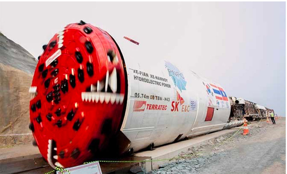 Double shield TBM used for the 5.7m diameter x 11.5km long Xe Pian Xe Namnoy headrace in Laos