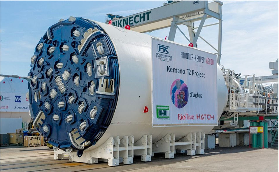 Single shield TBM used on the 8km long upstream section of the T2 tunnel of the Kemano project in Canada