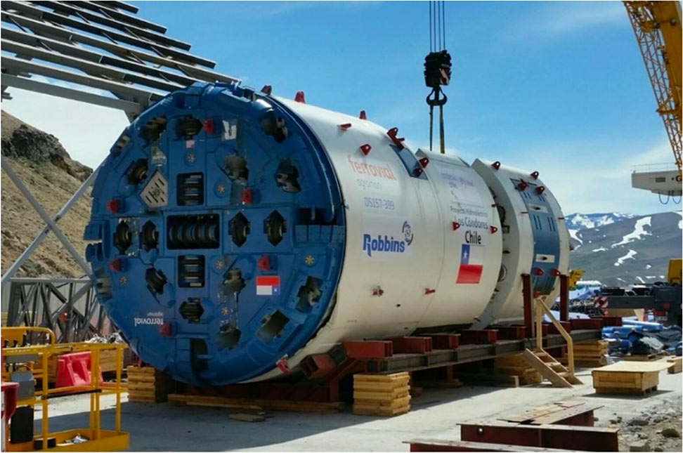 Double shield TBM used on the 10km long downstream section of the Los Condores project in Chile