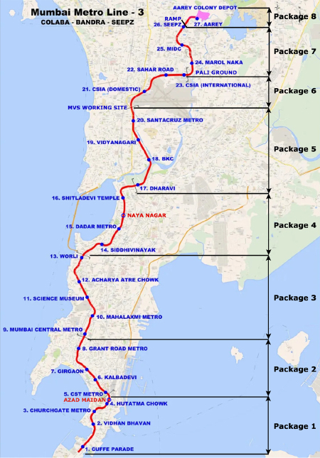 Fig 1. Mumbai Metro Line 3 and its contract packages
