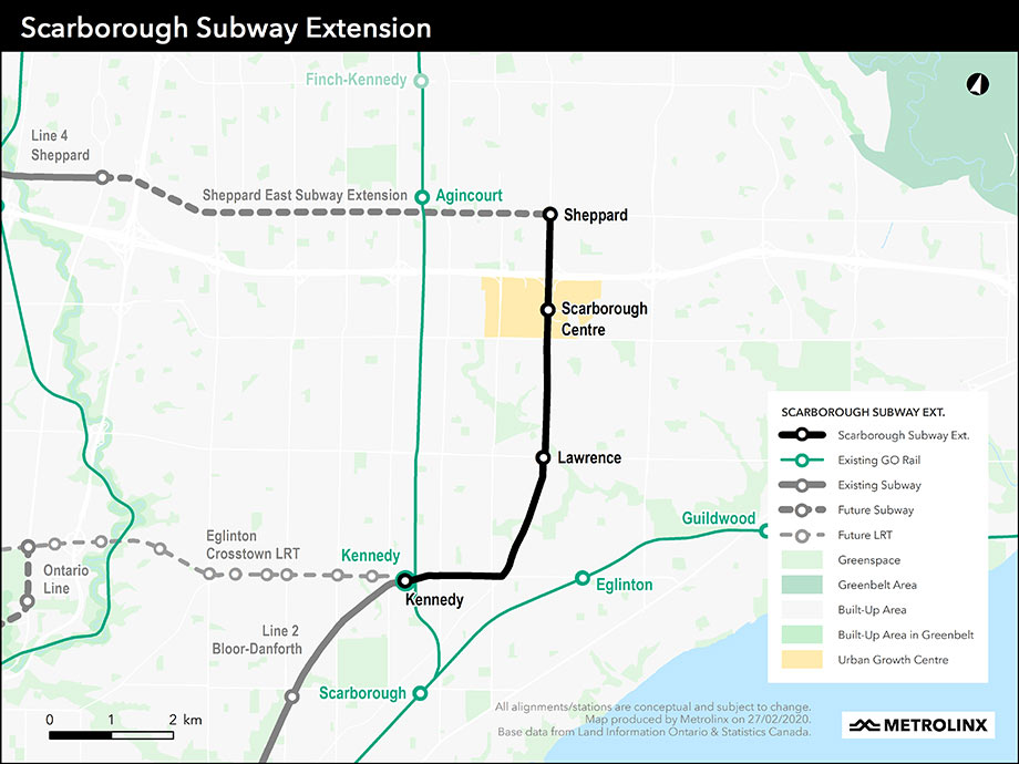 Fig 2. 7.8km Scarborough Subway extension route