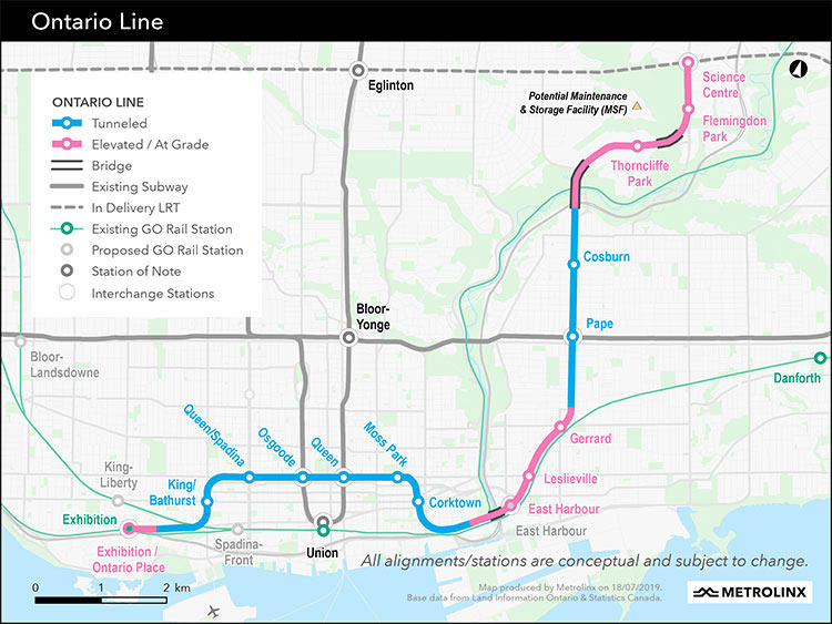 Fig 4. 16km Ontario Line route