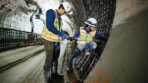 Rebar for final insitu concrete lining at Belleview