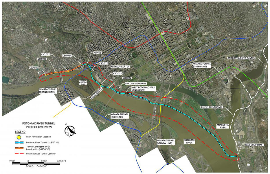 Fig 1. Route of the new Potomac CSO interceptor