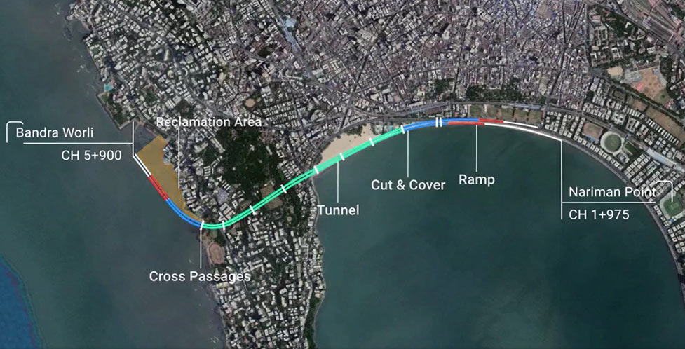 Fig 1. Underground highway route between Naruman Point and Bandra Worli
