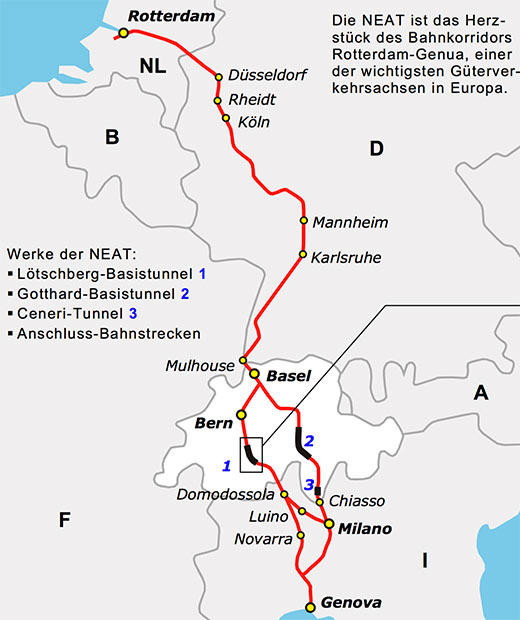 Fig 1. Proposed extent of the European Union rail traffic infrastructure by 2010 with the two baseline projects across Switzerland at the heart of the network