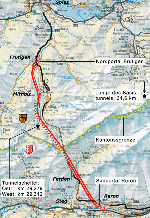 Fig 4. Plan of the Lötschberg tunnel with the 9km exploratory tunnel from the Frutigan portal and the side adit at Mitholz