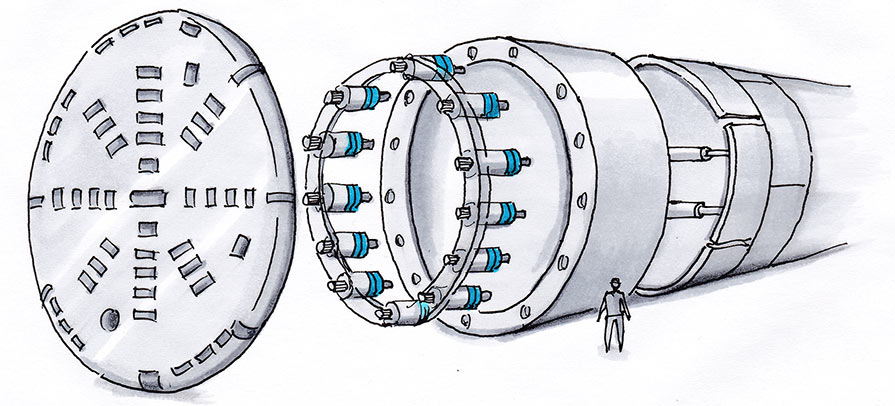 Robust EAS®-HT torque limiter clutches on TBMs (in blue) can withstand extreme stresses and