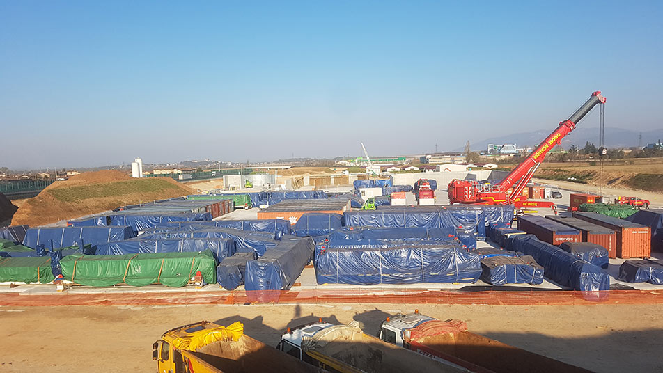 TBM on site and ready for assembly in Italy