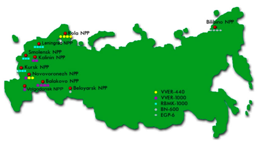 Fig 1. Nuclear power plants in Russia