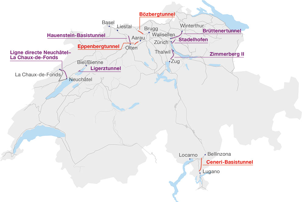 Rail projects currently under construction (red) and in the planning (purple) in Switzerland