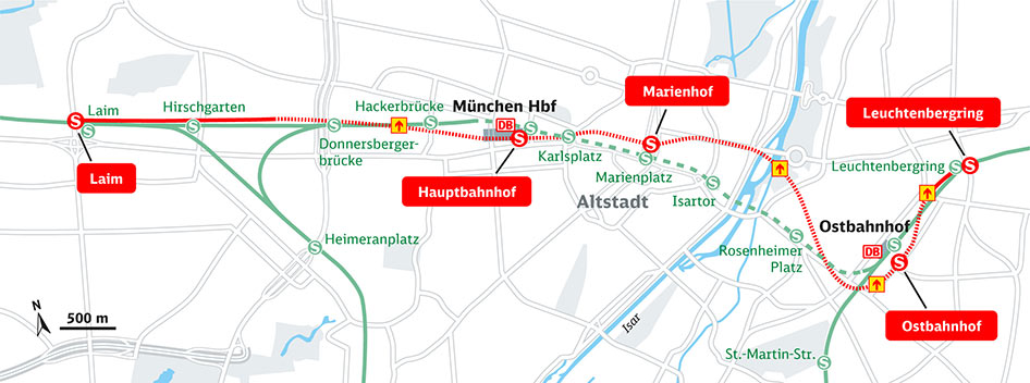 Route of the second core S-Bahn in Munich