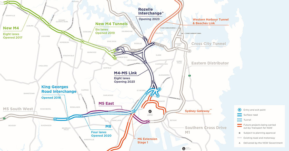 Fig 2. Two stages of WestConnex complete with two under construction