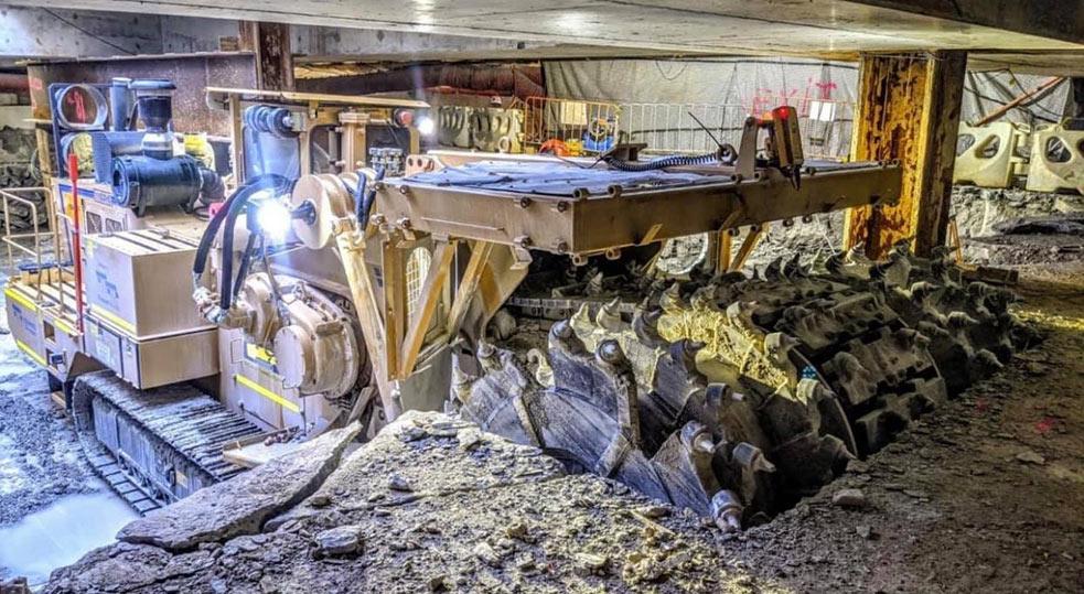 Surface miner making short work of bench excavating