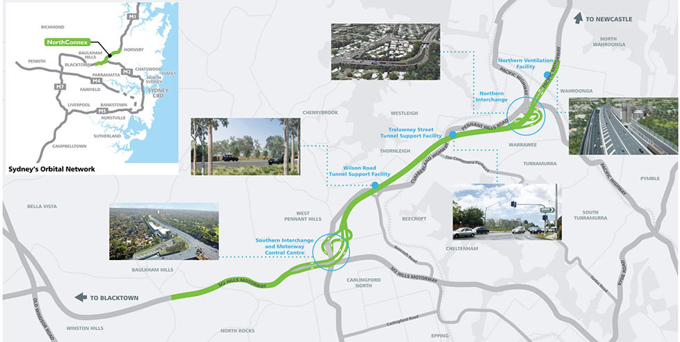 Fig 1. NorthConnex links the M1 and M2 highways and bypasses 21 sets of traffic lights on the congested Pennant Hill Road